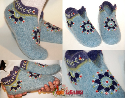 knitting pattern felted Slippers design LaKalinka