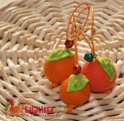 войлочные бусы апельсинки