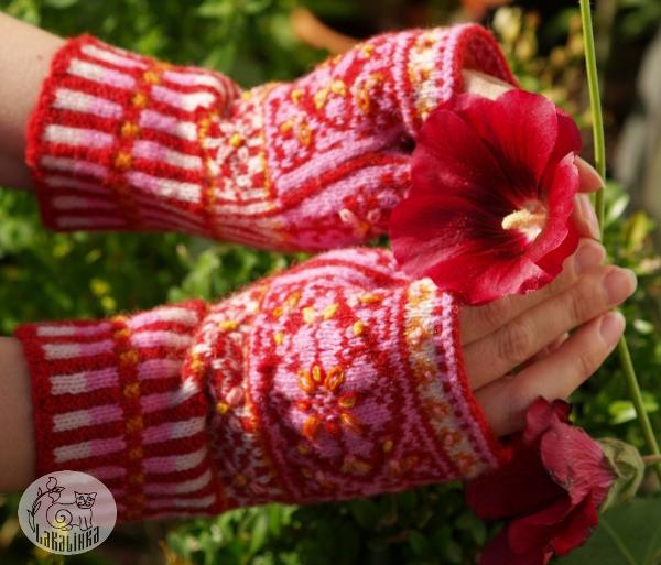 embroidered mitts Malva
