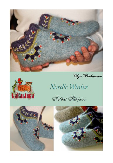 Nordic winter pattern felted slippers